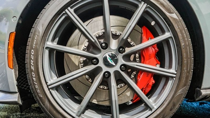 red painted caliper
